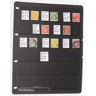 Sheet with Eight Perf 14 SG Small Multi Watermark Stamps