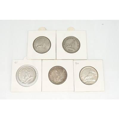 Five Australian 1954 Royal Visit Silver Florins