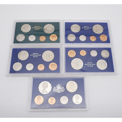 Five Proof Coin Sets, Including 1980, 1981 and 1982 Brisbane Commonwealth Games