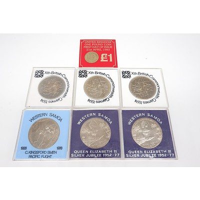 Seven Proof Coins, Including Three Xth British Commonwealth Games 1974, Two $1 Western Samoa 1928-1978 Charles Kingsford Smith Coin and More