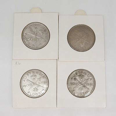 Four Australian 1951 Federation Jubilee Florins