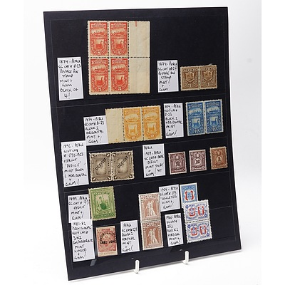 Sheet of Twenty-Two Stamps Including Block of Four 1874 Peru SG Catch D-23 Postage Due Stamp and More