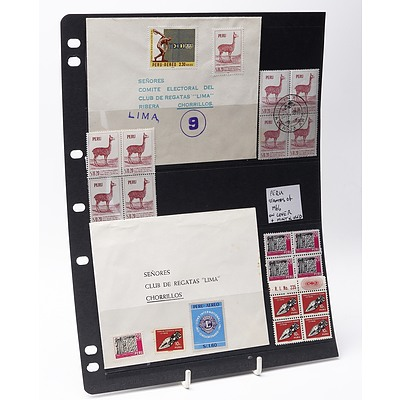 Sheet of Various 1966 Peru Stamps on Cover
