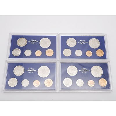Four 1981 Proof Coin Sets, All with 3 1/2 Claw Platypus 20 Cent Piece