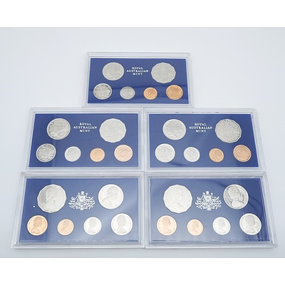 Five 1981 Proof Coin Sets