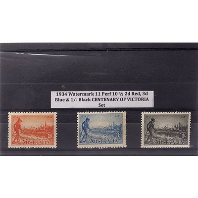 1934 Watermark 11 Perf 10 1/2 2d Red, 3d Blue & 1/- Black Centenary of Victoria Stamp Set