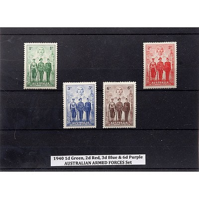 1940 1d Green, 2d Red. 3d Blue & 6d Purple Australian Armed Forces Stamp Set