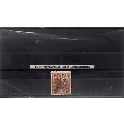1914 Engraved 6d Claret Kookaburra Stamp