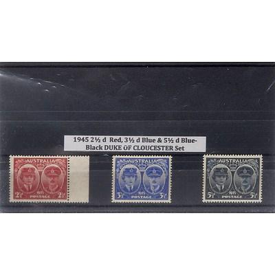 1945 2 1/2d Red, 3 1/2d Blue & 5 1/2d Blue-Black Duke of Gloucester Stamp Set