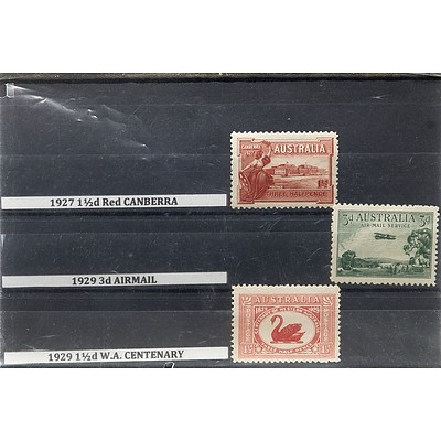1927 1 1/2d Red Canberra, 1929 3d Airmail and 1929 1 1/2d W.A. Centenary Stamps