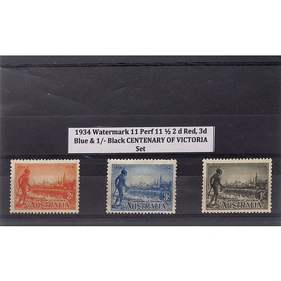 1934 Watermark 11 Perf 11 1/2 2d Red, 3s Blue & 1/- Black Centenary of Victoria Stamp Set