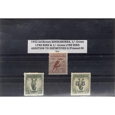 1932 6d Brown Kookaburra, 1/- Green Lyre Bird & 1/- Green Lyre Bird Addition to Definitives O/Printed OS Stamp Set