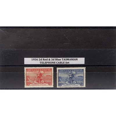 1936 2d Red & 3d Blue Tasmanian Telephone Cable Stamp Set