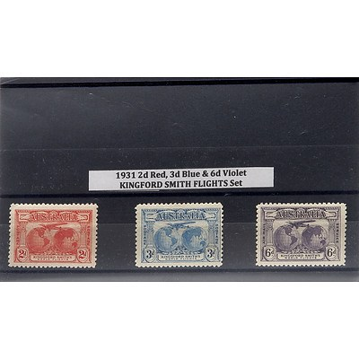 1931 2d Red, 3d Blue & 6d Violet Kingford Smith Flights Stamp Set