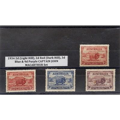 1934 2d (Light Hill), 2d Red (Dark Hill), 3d Blue & 9d Purple Captain John Macarthur Stamp Set