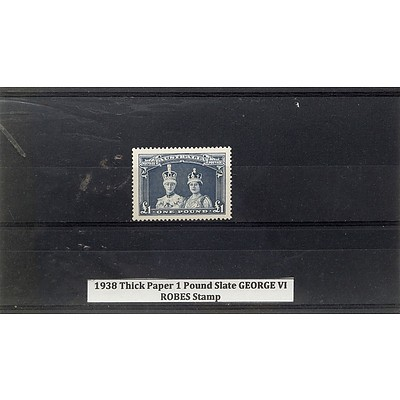 1938 Thick Paper 1 Pound Slate George VI Robes Stamp