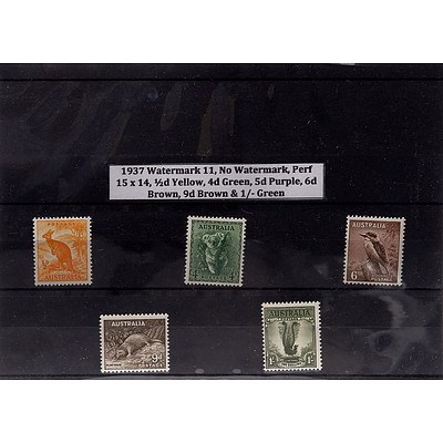 1937 Watermark 11, No Watermark, Perf 15 x 14, 1/2d Yellow, 4d Green, 5d Purple, 6d Brown, 9d Brown & 1/- Green Stamps
