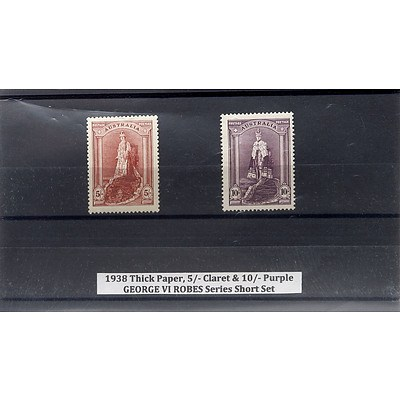 1938 Thick Paper, 5/- Claret & 10/- Purple George VI Robes Series Short Stamp Set