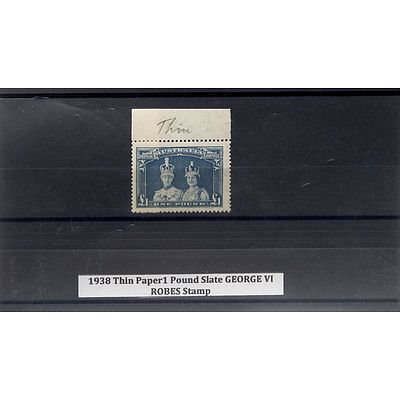 1938 Thin Paper 1 Pound Slate George VI Robes Stamp