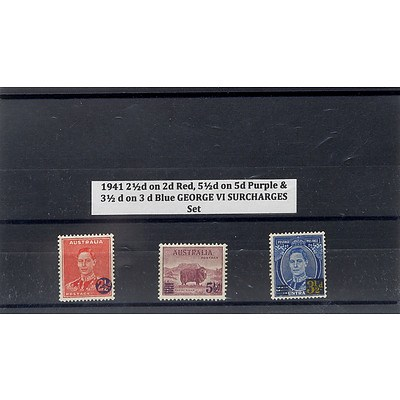 1941 2 1/2d on 2d Red, 5 1/2d on 5d Purple & 3 1/2d on 3d Blue George VI Surcharges Stamp Set