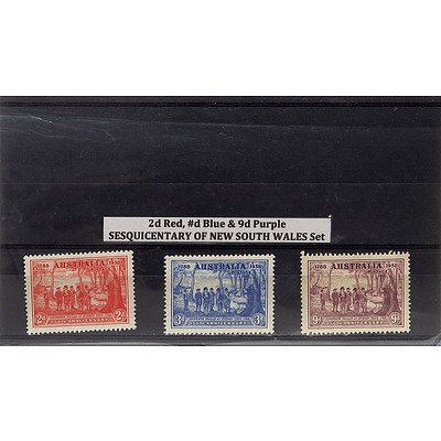 2d Red, #d Blue & 9d Purple Sesquicentary of New South Wales Stamp Set