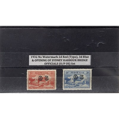 1932 No Watermark 2d Red (Typo), 3d Blue & Opening of Sydney Harbour Bridge Officials (O/P OS) Stamp Set