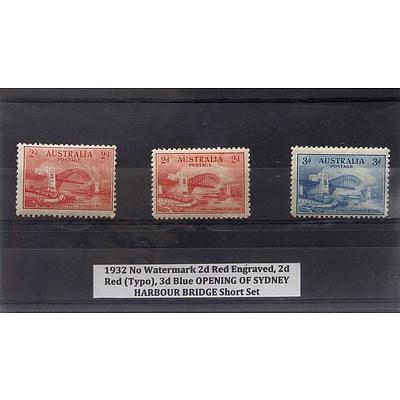 1932 No Watermark 2d Red Engraved, 2d Red (Typo), 3d Blue Opening of Sydney Harbour Bridge Short Stamp Set