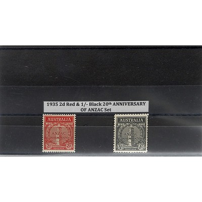 1935 2d Red & 1/- Black 20th Anniversary of Anzac Set