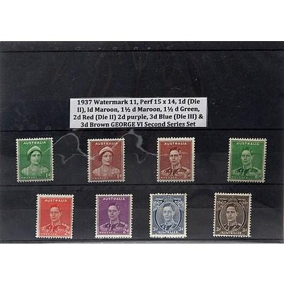 1937 Watermark 11, Perf 15 x 14,1d (Die II), 1d Maroon, 1 1/2 d Maroon, 1 1/2 d Green, 2d Red (Die II) 2d Purple, 3d Blue (die III) & 3d Brown George VI Second Series Stamp Set