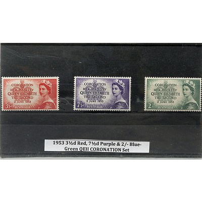 1953 3 1/2d Red, 7 1/2d Purple & 2/- Blue/Green QEII Coronation Stamp Set