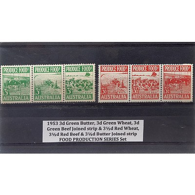 1953 3d Green Butter, 3d Green Wheat, 3d Green Beef Joined Strip & 3 1/2d Red Wheat, 3 1/2d Red Beef & 3 1/2d Butter Joined Strip Food Production Series Stamp Set