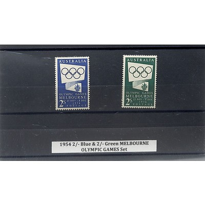 1954 2/- Blue & 2/- Green Melbourne Olympic Games Stamp Set