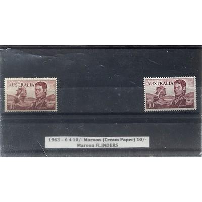 1963 - 6 4 10/- Maroon (Cream Paper) 10/- Maroon FLINDERS