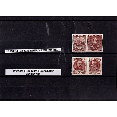 1951 3d Red & 3d Red Pair Centenaries Stamps and 1950 2 1/2d Red & 2 1/2d Pair Centenary Stamps
