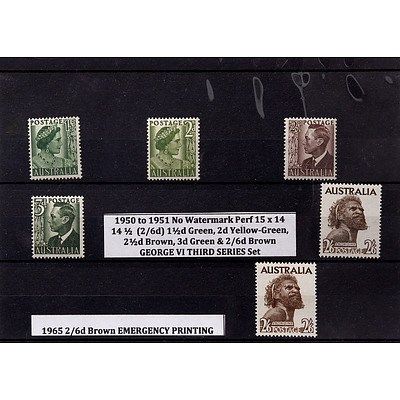 Six Stamps Including 2d Yellow-Green, 2 1/2d Brown, 3d Green & 2/6d Brown George VI Third Series Set and More