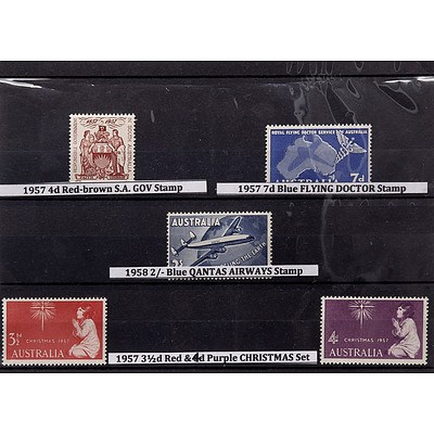 Five Stamps Including 1957 4d Red-Brown S.A. Government Stamp, 1957 7d Blue Flying Doctor Stamp and More