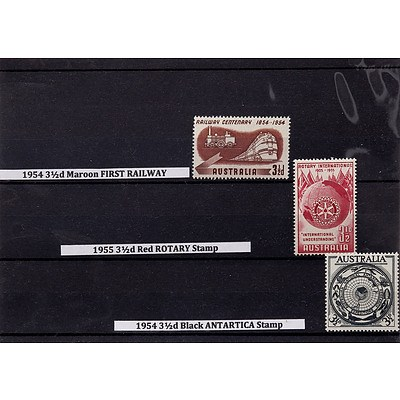 1954 3 1/2d Maroon First Railway Stamp, 1955 3 1/2d Red Rotary Stamp and 1954 3 1/2d Black Antarctica Stamp