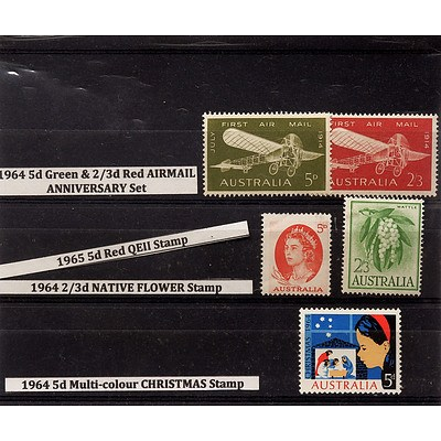 Five Stamps Including 1964 5d Green & 2/3d Airmail Anniversary Set, 1964 5d Multi-colour Christmas Stamp and More
