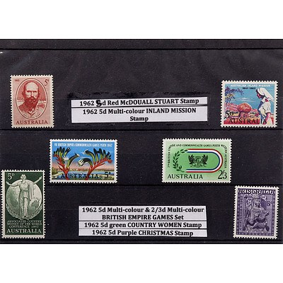 Six Stamps Including 1962 5d Red McDouall Stuart Stamp, 1962 5d Multi-colour Inland Mission Stamp and More