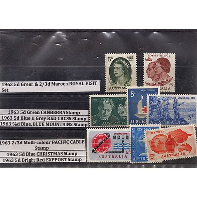 Eight Stamps Including 1963 5d Green & 2/3d Maroon Royal Visit Set, 1963 5d Green Canberra Stamp and More