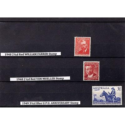 1948 2 1/2d Red William Farrer Stamp, 1948 2 1/2d Red Von Mueller Stamp and 1949 3 1/2d Blue U.P.U. Anniversary Stamp