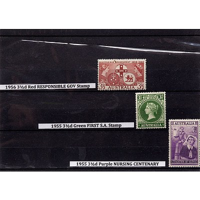 1956 3 1/2d Red Responsible Government Stamp, 1955 3 1/2d Green First S.A. Stamp and 1955 3 1/2d Purple Nursing Centenary Stamp