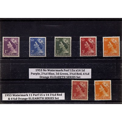 Seven Stamps Including 1953 No Watermark Perf 15 x 14 1d Purple, 2 1/2d Blue, 3d Green, 3 1/2d Red, 6 1/2d Orange Elizabeth Series Set and More