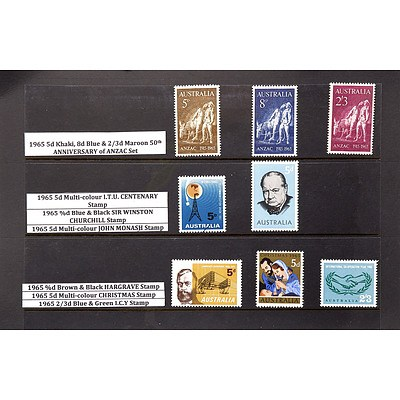 Eight Stamps Including 1965 5d Khaki, 8d Blue, 2/3 Maroon 50th Anniversary of Anzac Set and More