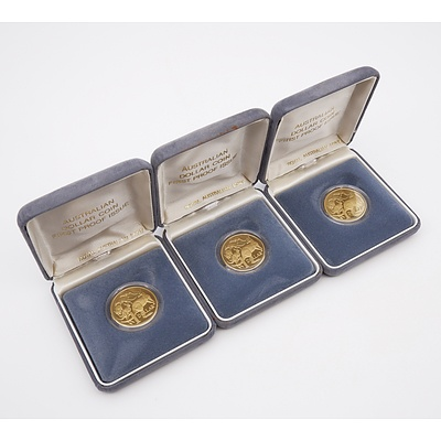 Three 1984 $1 Proof Coins, First Year of Issue