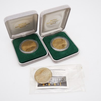 Two 1988 $5 Proof Coins and Commonwealth Bank 1988 $5 Commemorative Coin