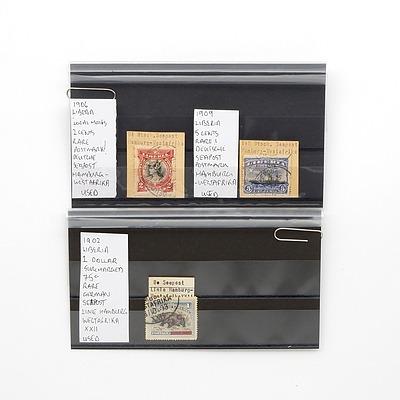 1909 Liberia Five Cents Rare Deutche Seapost Postmark Stamp, 1906 Liberia Local Motifs Two Cents Rare Postmark and More