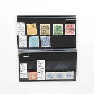 1871 Peru SG#13 Scott Cat A15 Cinco Centanos Stamp, 1886 Orange Drie Pence Set of Three Stamps, 1967 New Zealand Revenue Stamps and More