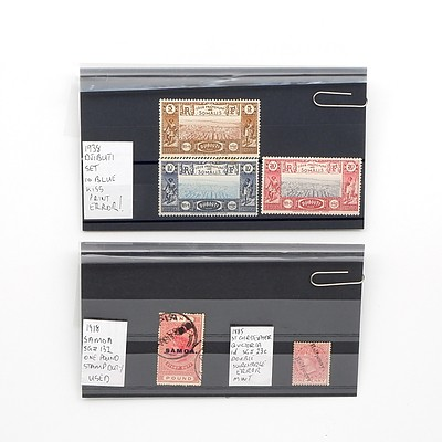 1918 Samoa One Pound Stamp Duty Stamp, 1885 Saint Christopher Queen Victoria 1d Double Surcharged Error Stamp and More