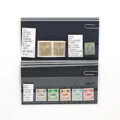West Australian Swan Revenue Stamps 3d-10/-, 1862 US Confederate State Ink Flaw Five Cent Stamp and 1920 Ukraine New Daily Stamps Horizontal Imperforate Pair of Stamps